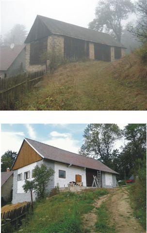 Podzimní mlhy, původní vzhled a k tomu nový kabátek stodoly